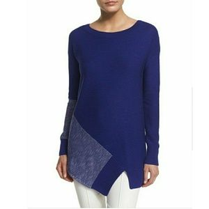 St John  Indigo White Asymmetrical Sweater  Med